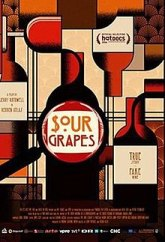 "Image Description: Vintage style illustration of red wine bottles on a beige background. The title, ""Sour Grapes"" is in a distorted bubble slightly off center."